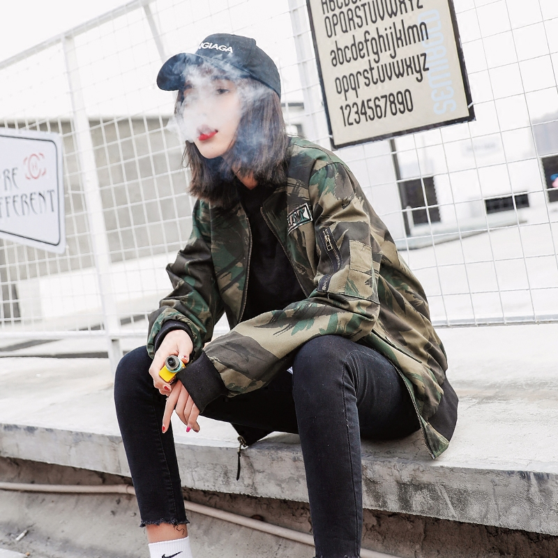 Outerwear womens spring and autumn 2019 new camouflage loose Baseball Jacket