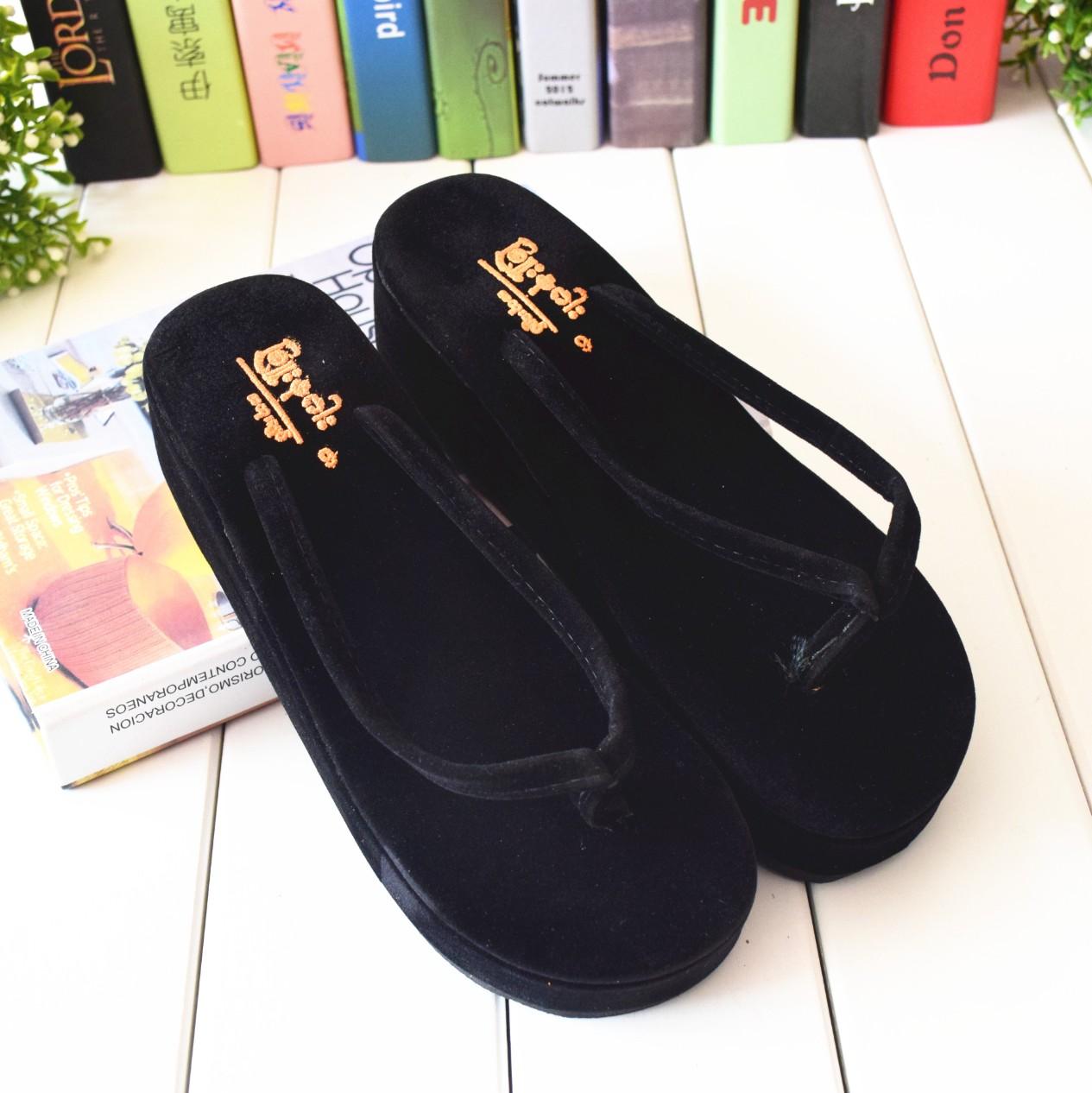 经典缅甸拖鞋时尚精品坡跟女士人字拖鞋1双包邮
