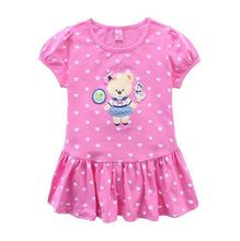 Boehm bear children's clothes, 2015 new girls short-sleeved cotton knitwear authentic children summer wear short dresses