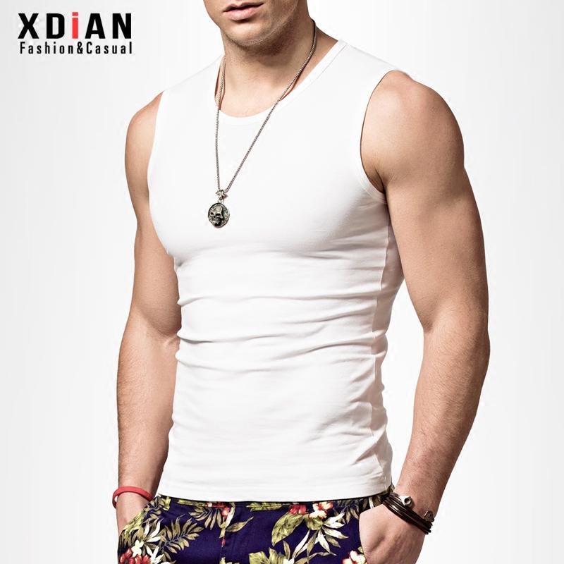 夏季无袖T恤男潮牌运动健身修身型紧身男士宽肩砍袖背心纯棉坎肩