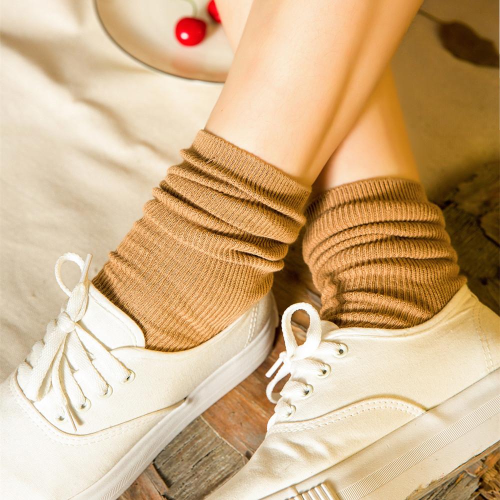 春夏纯棉日系糖果色纯色堆堆袜森系复古中筒女袜韩国学生短靴袜子手慢无