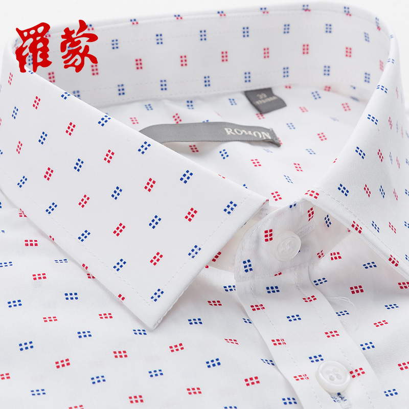 ~2件99~羅蒙商務 修身印花圓點格子全棉中青年男士短袖襯衫