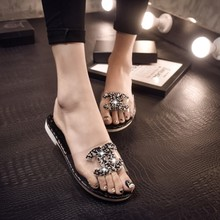 Han edition 2015 summer shoes slippers word tow diamond tow sets of toe female xia drill flat non-slip sandals, slippers