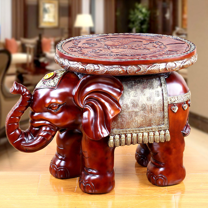 金傳承 歐式家居大象穿換鞋凳子客廳仿實木擺件結婚喬遷新婚
