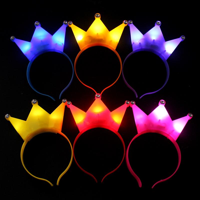 篝火晚会演唱会发光头饰道具活动气氛道具带灯发光头箍发光皇冠