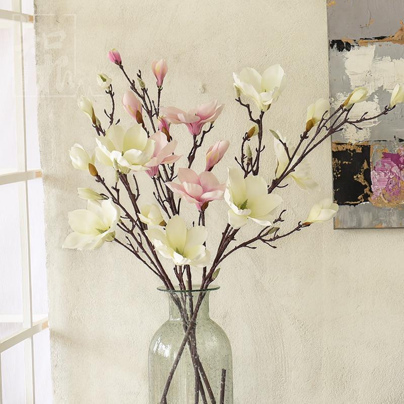 高仿真花 假花裝飾花客廳絹花 大白玉蘭花 家居擺設花 單支落地