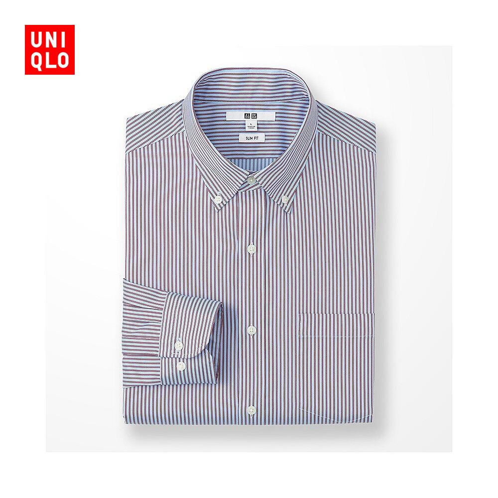 男裝 精紡彈力修身條紋襯衫^(長袖^) 180791 優衣庫UNIQLO