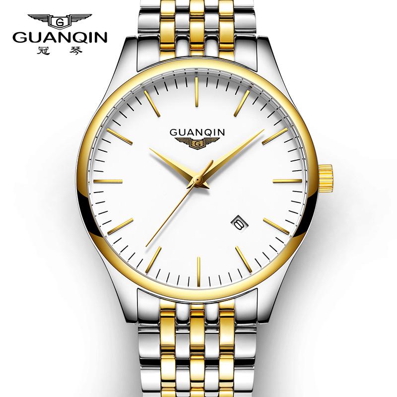 男士正品手表超薄精钢防水学生石英表商务休闲简约钢带腕表中年