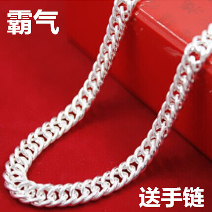 Foot Sterling Silver Necklace Silver Necklace 999 mens necklace female baby childrens flat chain horsewhip chain thick wide chain