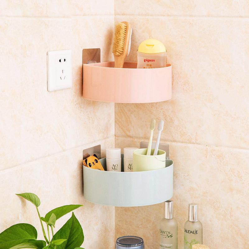 免打孔浴室置物架衛生間壁掛式瀝水收納架吸壁三角架化妝品收納盒