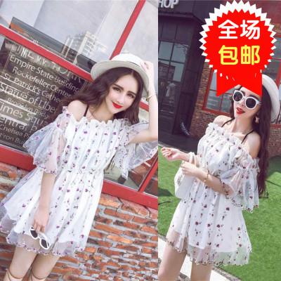 Big runway looks new summer 2015 han edition of sexy word get romantic embroidered horn sleeve dress