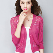 Dress with a small thin cardigan sweater coat female brief paragraph small shawl hollow-out sweater in the summer of 7 minutes of sleeve air conditioning unlined upper garment