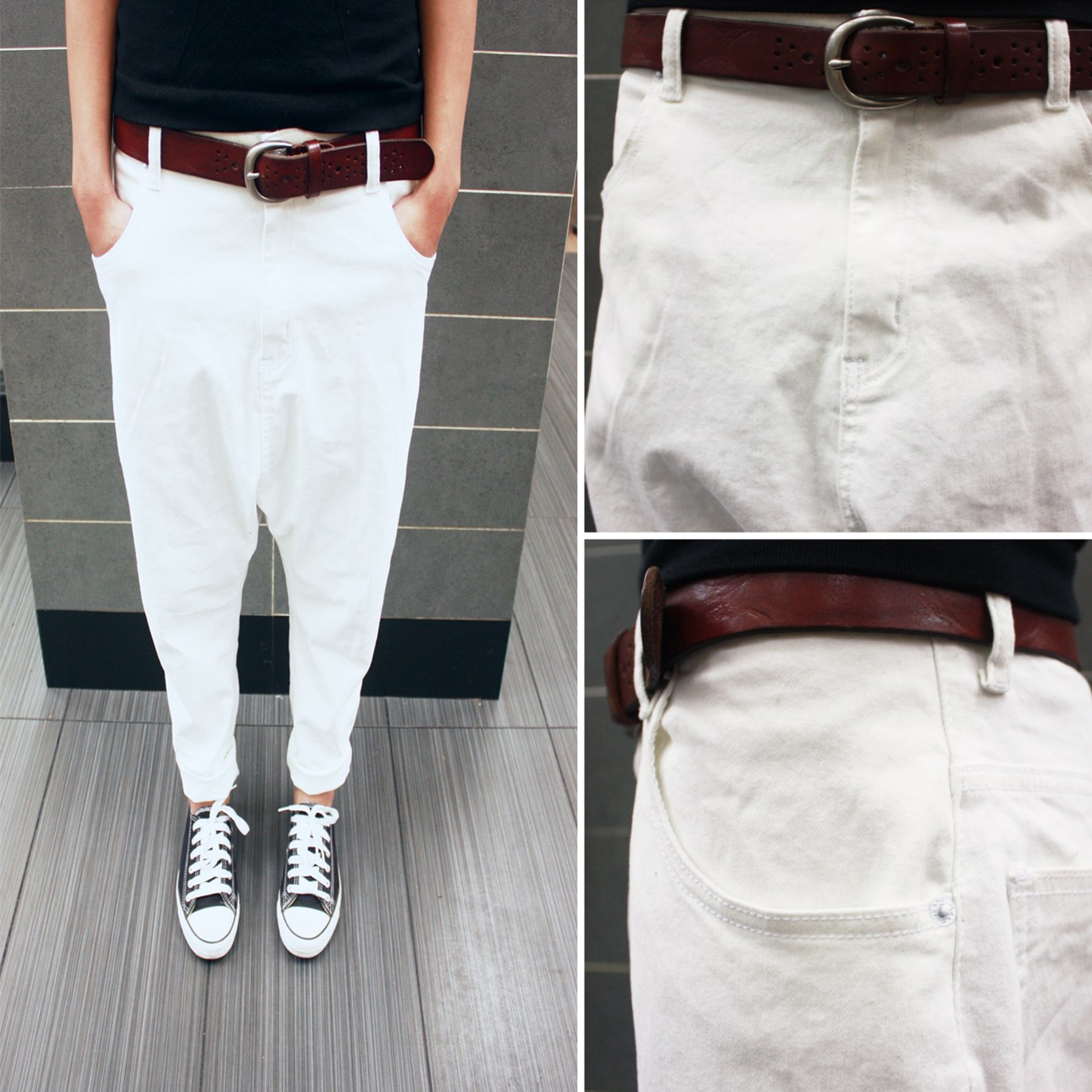 Korean couples wear mens and womens pants new Japanese pure white jeans British slim fit small foot Harlan pants fashion