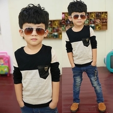 Autumn 2015 the new children's clothing Boy's pure cotton long sleeve T-shirt cuhk children round collar render unlined upper garment to coat in the spring and autumn