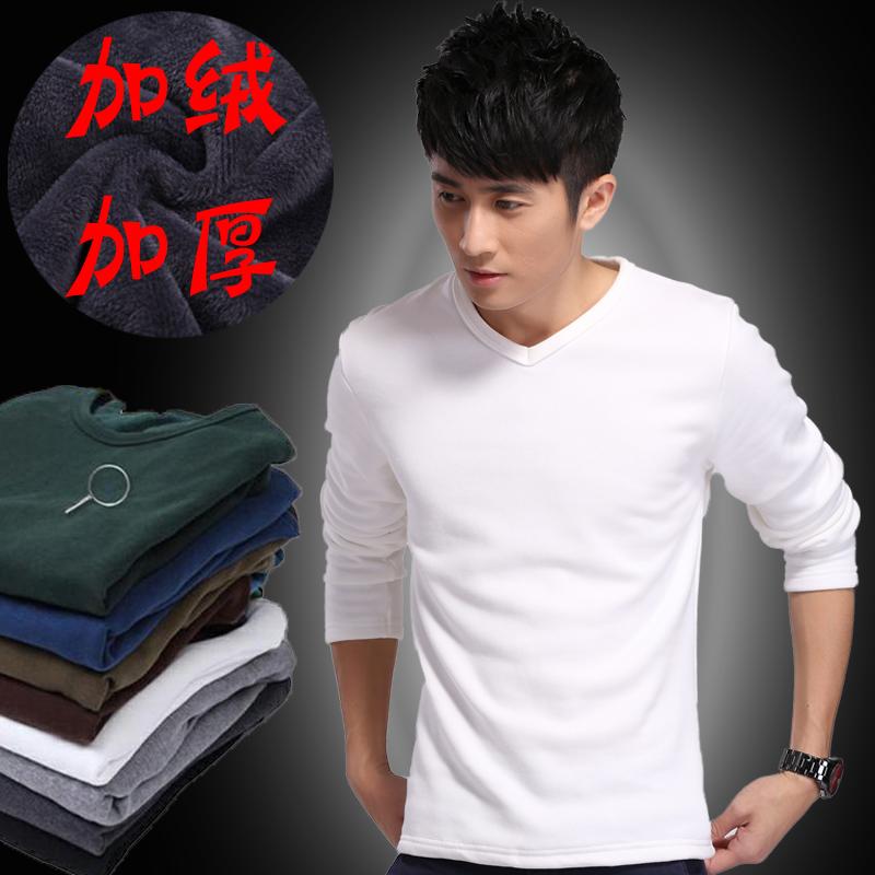 Новая осень/зима мужчины XL хлопок Мужская с длинным рукавом t рубашку и шерсти толщиной теплую одежду для рубашки