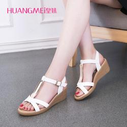 皇妹夏季女式百搭平底中跟女鞋舒适坡跟露趾一字带凉鞋子