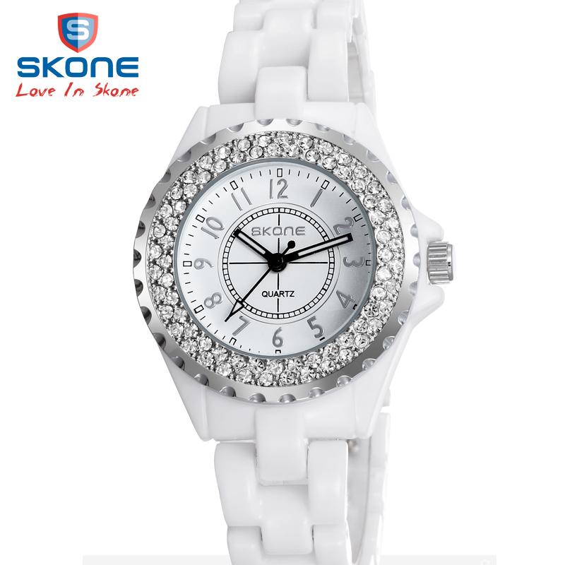正品時空手表女陶瓷白色 潮流女表防水石英表 鑲鑽女士手表