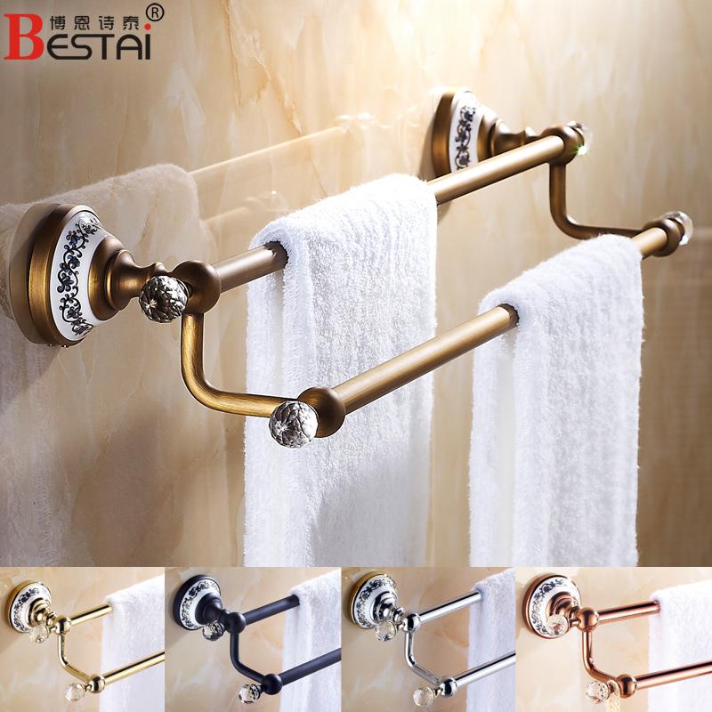 Европейский антикварной медной ванной полотенце бары Золотая Роза золотой/черный двойной-Аксессуары для ванной комнаты