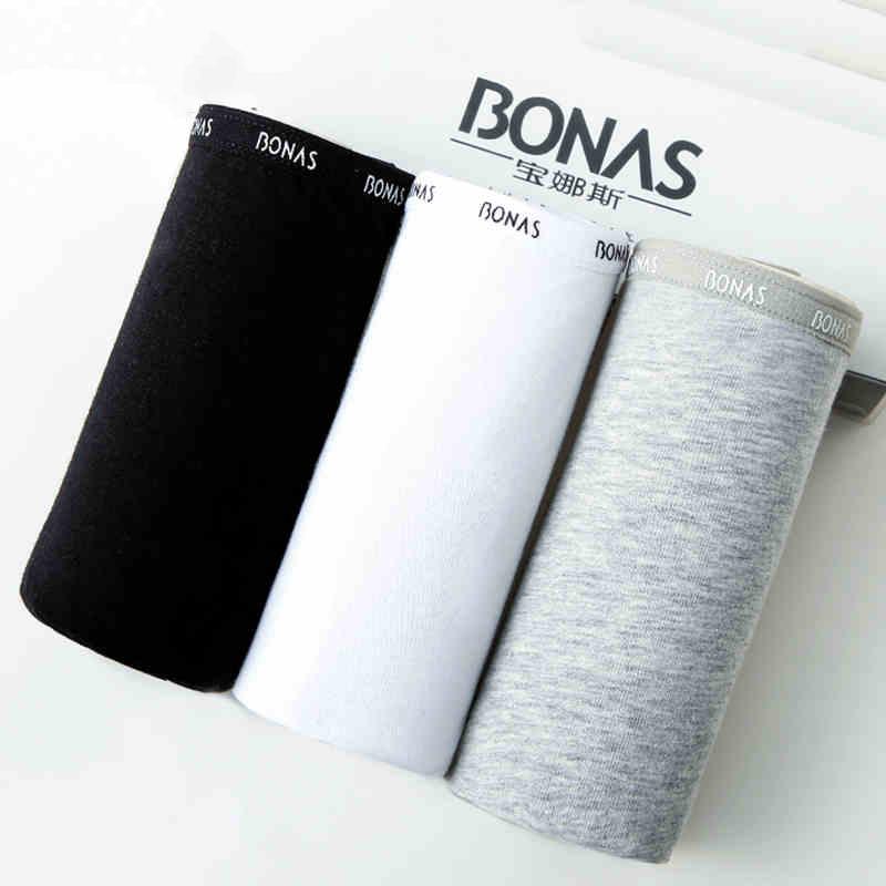 寶娜斯BONAS女 純色黑白灰棉內褲3條盒裝NK7006