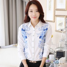 The new 2015 han edition code printed chiffon gown female long sleeve shirt lapel cultivate one's morality show thin ol vocational blouse