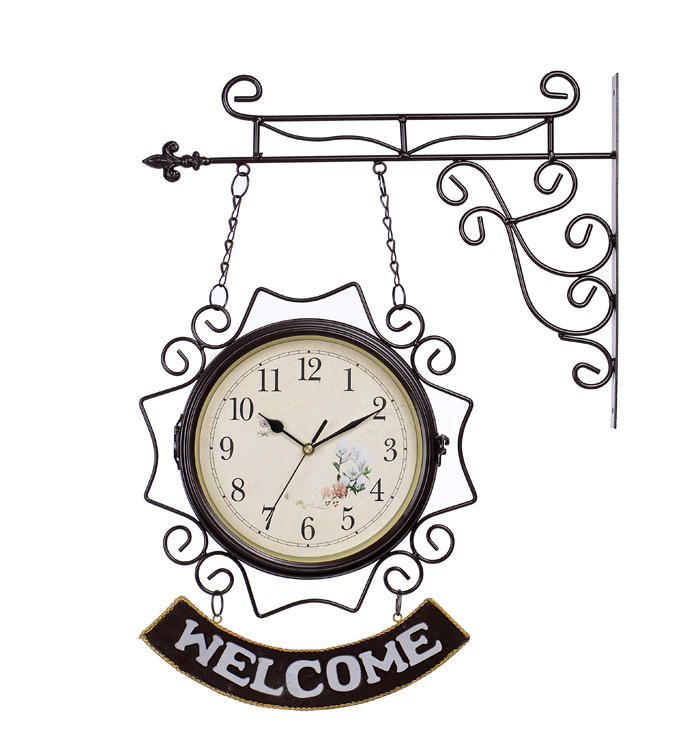 Gejiarui Восточного Средиземноморья стиль приветствия из кованого железа двойной двухсторонний настенные часы немой домашний декор Часы виджеты