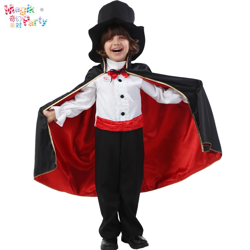 万圣节儿童演出服装Cosplay表演衣服绅士披风小魔法师魔术师服饰