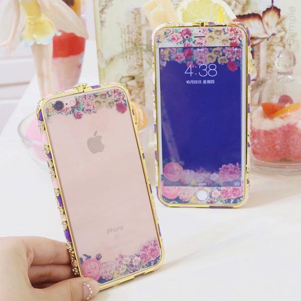 iphone6 plus钢化玻璃膜苹果6s全屏透明花浮雕前后手机彩膜5S贴膜
