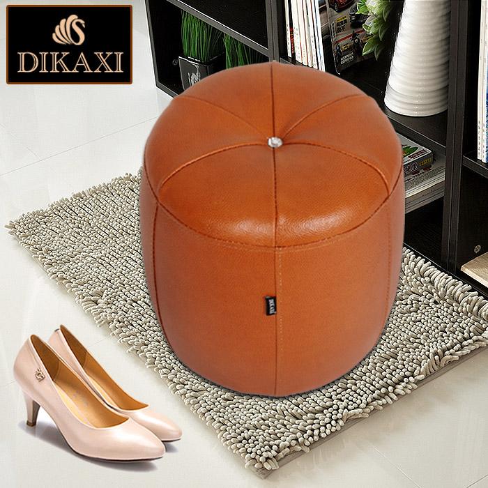 迪卡西 真皮換鞋凳歐式沙發凳小圓墩子梳妝凳皮凳子圓凳腳凳凳子