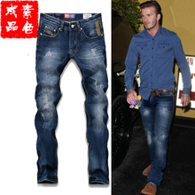 Star David Beckham to cultivate one's morality leisure trousers straight jeans men's cotton and feet foreign trade popular logo autumn