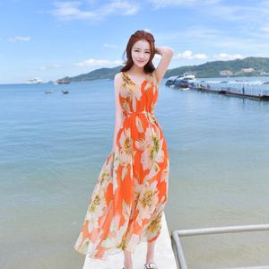 领3元券购买2017夏季新雪纺显瘦长裙背心裙波西米亚大摆连衣裙海滩度假沙滩裙