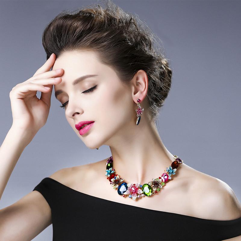 【麦芭贝尔】装饰项链短女 春夏时尚水晶锁骨链夸张欧美饰品配饰