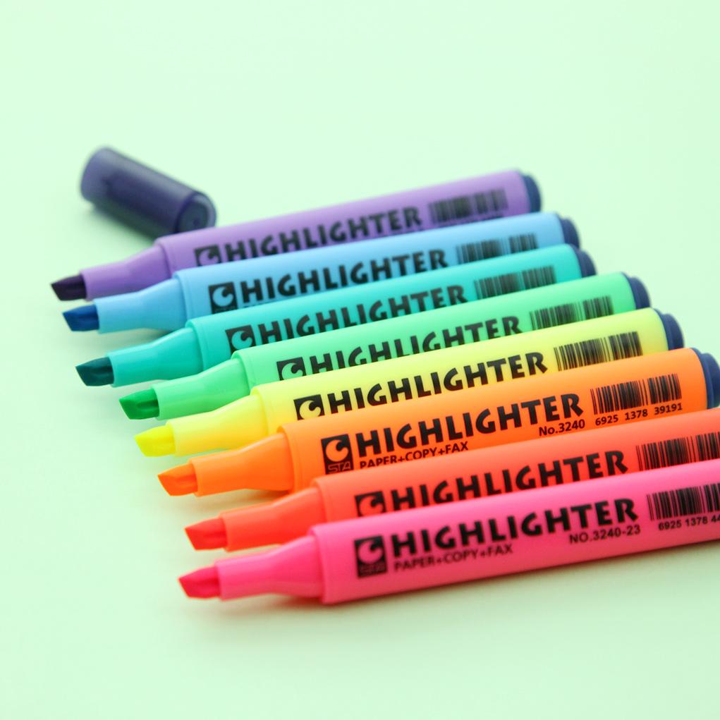 正品STA荧光笔 手帐重点笔记标记 快干水性记号笔糖果色 马克笔