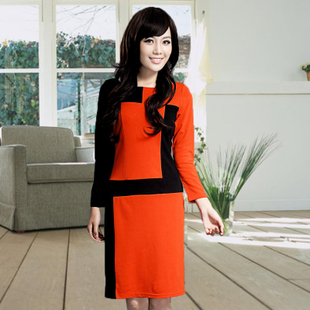 Clearance spring new quality women s fashion long sleeved dress temperament OL commuter dress stitching XL