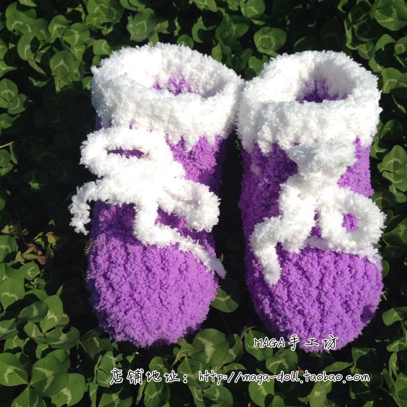 Оригинал ручная работа Crocheted шерстяная пряжа детские Обувь / сапоги / Рождественские подарки, детские Зимняя поездка удерживающий тепло