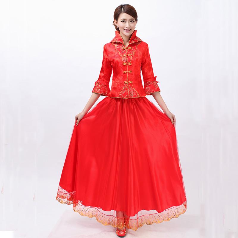 2016紅色春 新娘結婚禮服中袖長袖中式長款旗袍大碼敬酒服胖mm