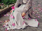 手缝针织羊毛花朵裙(自留,欣赏)