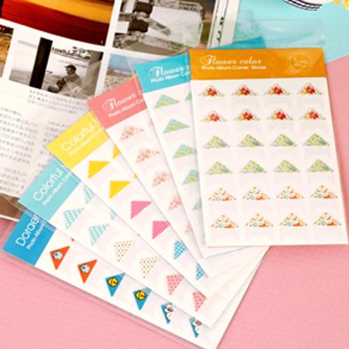 特价纸质相册卡通哆啦时尚创意相片角贴24枚6款可选