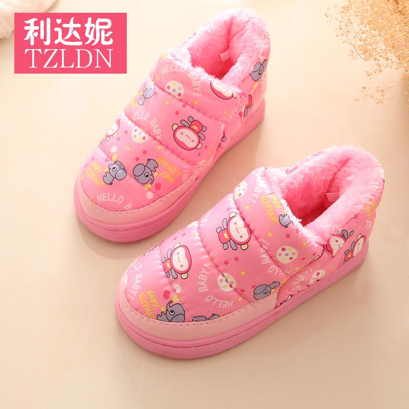 防水兒童棉拖鞋男女童居家居防滑包跟厚底寶寶情侶可愛保暖鞋
