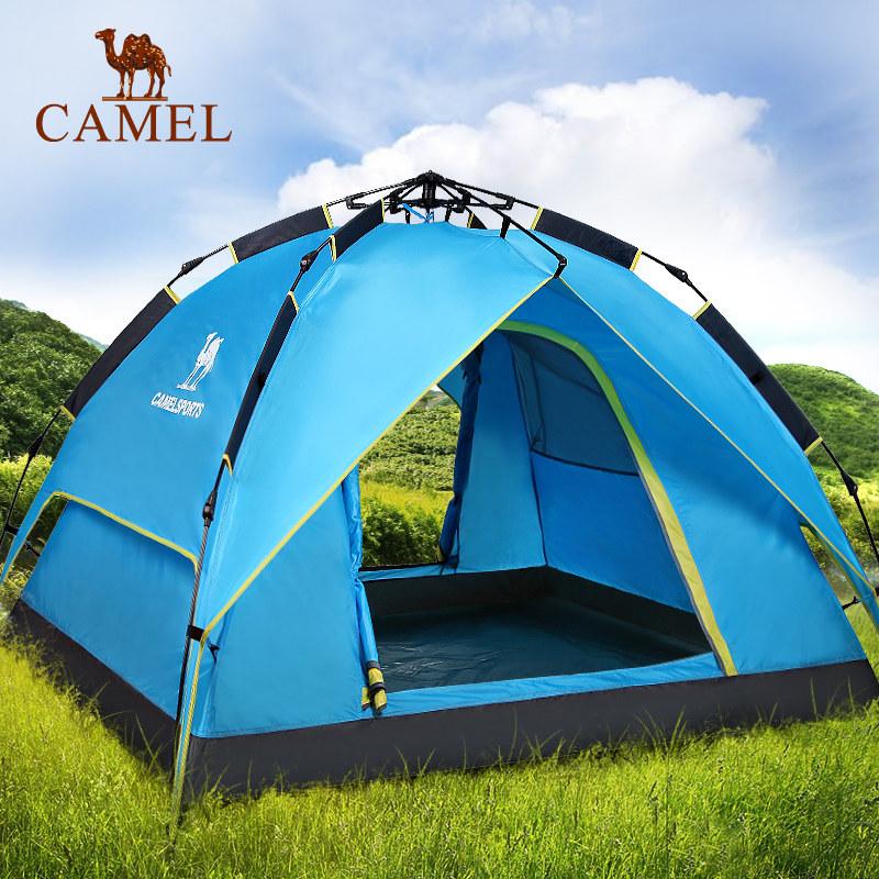 【 разлетаться, как горячие пирожки 37 десять тысяч топ 】 верблюд палатка на открытом воздухе 3-4 человек автоматическая все двойной слой дождь дикий иностранных кемпинг палатка