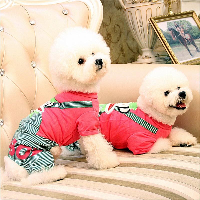 2件減5元寵物衣服四腳衣春夏裝 泰迪狗狗衣服春裝四腳裝小型犬