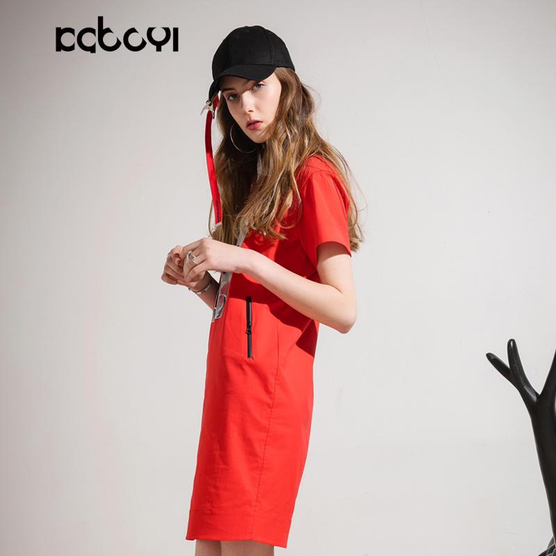 卡布依限量版原创设计师品牌女装夏季新品红色棉料圆领中裙连衣裙