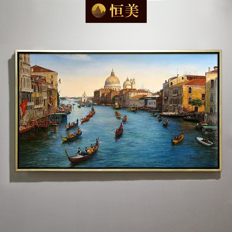 Постоянный прекрасный континентальный живопись ручная роспись пейзаж гостиная фреска диван картины венеция вход декоративный живопись магазин сделанный на заказ
