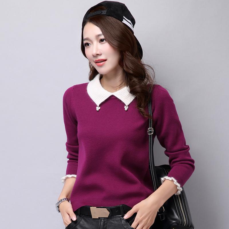«Ежедневные specials» осень/зима новый стиль женщин отворотом ослабление Корейской поддельные из двух частей базы свитер перемычку