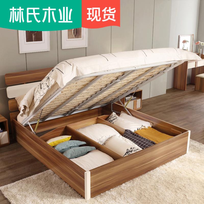 Лес клан дерево промышленность простой современный пластина кровать 1.8m экономического типа двуспальная кровать высокий ящик хранение спальня мебель CP4A-B
