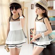 童装女童2015新款夏装5-12岁中大女童雪纺蛋糕裙短裤韩版儿童套装