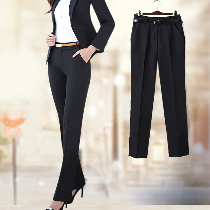 Huamao womens autumn and winter thick material Black Slim work pants low waist straight pants professional trousers