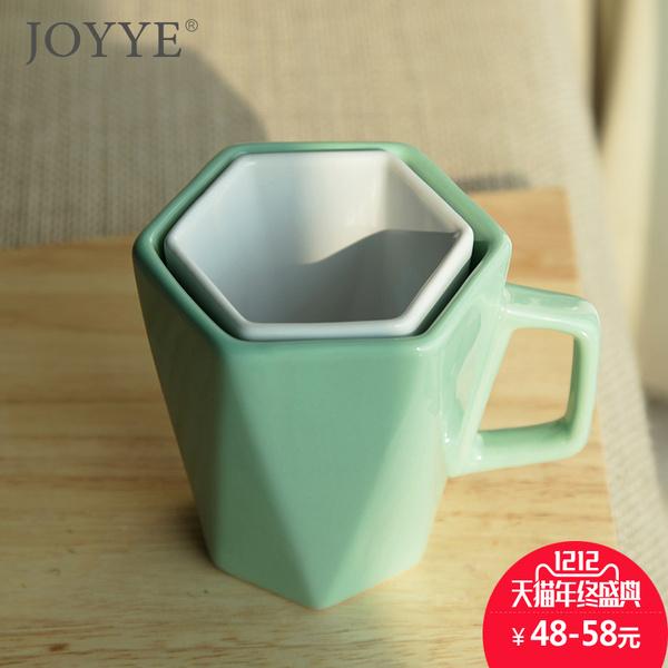 送礼棱形简约纯色陶瓷水杯不规则杯口马克杯创意情侣杯陶瓷杯对杯