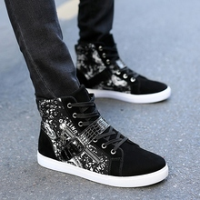 Qiu dong han edition shoes for men and high tide students short canister boots shoes leather stitching loafers handsome cowboy boots