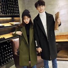 实拍情侣冬装韩版中长款毛呢外套女加厚保暖呢子大衣茧型风衣516