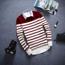 Autumn sets men sweater for middle school students round collar line unlined upper garment of teenagers striped sweater han edition of men's clothing of cultivate one's morality